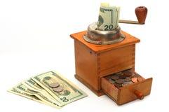 antika pengar för kaffegrinder Royaltyfri Bild