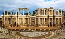 Antika Roman Theatre i Merida Arkivbilder
