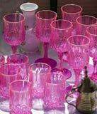 Antika rosa exponeringsglas Royaltyfri Bild
