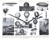 1874 antika tryck av tidig ballongflygande och aeronautik Arkivbild