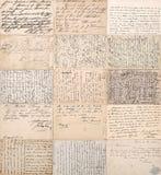 antika vykort gamla handskrivna odefinierade texter Royaltyfri Bild