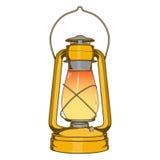 Antike alte Kerosin-Messinglampe lokalisiert auf einem weißen Hintergrund Farbige Linie Kunst Retro- Auslegung Stockbild