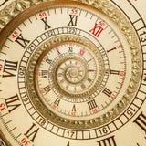 Antike alte Spiralenuhren abstrakte Fractalspirale Fractal-Musterhintergrund Beschaffenheit der Uhruhrspirale ungewöhnlicher Gold Lizenzfreie Stockfotografie