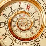 Antike alte Spiralenuhren abstrakte Fractalspirale Fractal-Musterhintergrund Beschaffenheit der Uhruhrspirale ungewöhnlicher Gold Stockfotos
