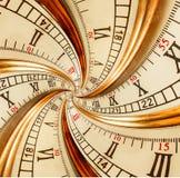 Antike alte Uhrzusammenfassung Fractaldoppeltspirale Surrealer gewundener Uhruhr-Zusammenfassungsbeschaffenheit Fractal-Musterhin Stockbild