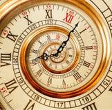 Antike alte Uhrzusammenfassung Fractalspirale Uhruhr ungewöhnliches a Stockfotos