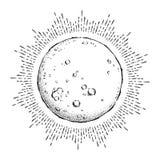 Antike bearbeiten gezeichnete Linie Kunst und Punkt der Art Hand Vollmond mit Strahlen des Lichtes Schicke Tätowierung Boho oder  vektor abbildung