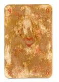 Antike benutzte Spielkarte des Herzpapierhintergrundes, der auf Weiß lokalisiert wurde Stockbild