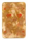 Antike benutzte Spielkarte lokalisierten des Herzpapierhintergrundes Stockfotos