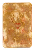 Antike benutzte Spielkarte lokalisierten des Herzpapierhintergrundes Lizenzfreie Stockfotografie