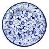 Antike blaue und weiße China-Platte Stockbild