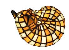 Antike Buntglaskatzelampe getrennt auf Weiß Lizenzfreies Stockbild