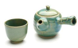 Antike chinesische Teekanne und ein Teecup Lizenzfreies Stockbild