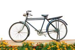 Antike Fahrradbalkonblumen Lizenzfreies Stockfoto