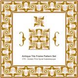 Antike Fliesenrahmenmuster set_079 goldene Rosa-Spirale Kaleidosco Stockfotografie