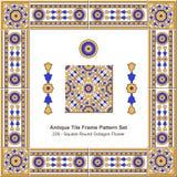 Antike Fliesenrahmenmuster set_229 quadratische runde Achteck-Blume Lizenzfreies Stockbild
