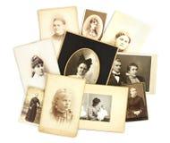 Antike Foto-Collage auf weißem Hintergrund Stockfotos