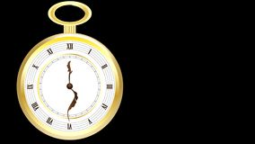 Antike goldene Taschen-Uhr stock footage