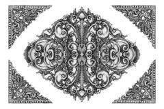 Antike gravierter silberner Hintergrund stockfoto