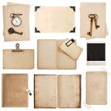 Antike grungy Papierblätter, Bücher und Fotorahmen lizenzfreie stockbilder