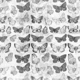 Antike grungy Schmetterlinge über dem französischen Rechnungscollagenhintergrund desaturated Lizenzfreies Stockfoto