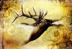 Antike Hirschkunst, die handgemachte Natur zeichnet vektor abbildung