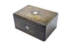 Antike Holzkiste mit Walnussfurnier-blatteinlegearbeit und -perlmutt stockbilder