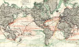 Antike Karte 1875 des Weltozean-Stroms Stockfotografie