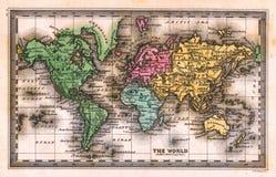 Antike Karte der Welt1835 Stockbilder