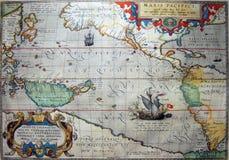 Antike Karte des Pazifischen Ozeans lizenzfreies stockbild