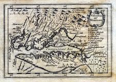 Antike Karte Kolonialvirginia Maryland der Drehzahl-1635 Lizenzfreie Stockfotos