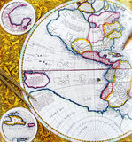 Antike Karte mit Teiler und Bleistift Stockbilder
