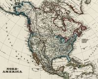 Antike Karte von Nordamerika 1875 Stockbild