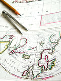 Antike Karte von Nordpol Lizenzfreie Stockfotografie