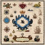 Antike Kartenelemente Lizenzfreie Stockbilder