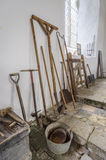 Antike landwirtschaftliche Maschinen - verschiedene Handwerkzeuge Stockbild