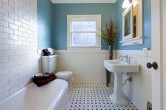 Antike Luxuxauslegung des blauen Badezimmers Stockfotos