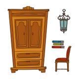 Antike Möbel stellten - Wandschrank, Lampe, Buch, die Stühle ein, die auf Weiß lokalisiert wurden Stockbild