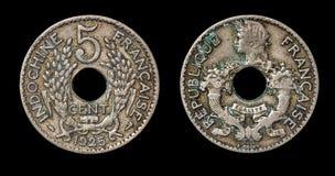 Antike Münze von 5 Centimes Lizenzfreies Stockfoto