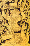 Antike Malerei auf der Tür im Tempel in Thailand Stockfotos