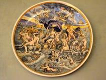 Antike Malerei auf einer Platte Stockfotografie