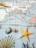 Antike pazifische Karte mit Shells Stockfoto