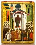 Antike russische orthodoxe Ikone Der Schutz der Jungfrau, 16t Lizenzfreie Stockfotos
