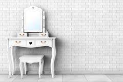 Antike Schlafzimmer-Eitelkeits-Tabelle mit Schemel und Spiegel Wiedergabe 3d Stockfoto