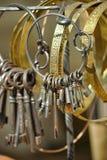 Antike Schlüssel auf einem Bündel Lizenzfreie Stockfotos