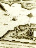 Antike Seekarte mit Bleistift Lizenzfreie Stockfotos