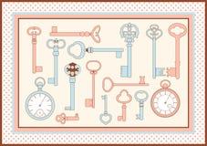 Antike skeleton Tasten und Uhrkarte Stockfotos