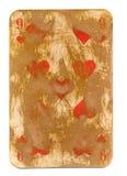 Antike Spielkarte des Herzpapierhintergrundes lokalisiert auf Weiß Lizenzfreies Stockfoto
