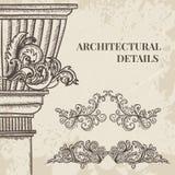 Antike und barocke Cartoucheverzierungen und klassischer Artspaltenvektorsatz Weinlesearchitekturdetailgestaltungselemente Lizenzfreie Stockfotos