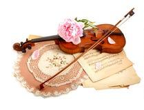 Antike Violine, Anmerkungen und Peon Lizenzfreies Stockbild